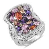 Simulated Multi Color Diamond Stainless Steel Openwork Ring (Size 7.0) TGW 11.350 cts.