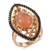 GP Peach Moonstone, Multi Gemstone 14K YG Over Sterling Silver Ring (Size 10.0) TGW 7.450 cts.