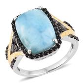 Larimar, Thai Black Spinel 14K YG and Platinum Over Sterling Silver Split Statement Ring (Size 12.0) TGW 17.30 cts.