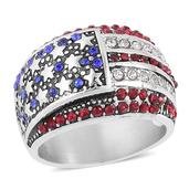 Multi Color Austrian Crystal Stainless Steel USA Flag Ring (Size 7.0) TGW 5.00 cts.