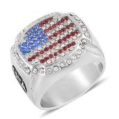 Red, Blue and White Austrian Crystal Stainless Steel Men's Ring (Size 12.0)