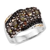 Jenipapo Andalusite, Thai Black Spinel 14K YG and Platinum Over Sterling Silver Ring (Size 10.0) TGW 2.870 cts.