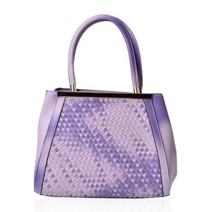 Lavender Ombre Faux Leather Basketweave Structured Tote Bag (14x6x11 in)