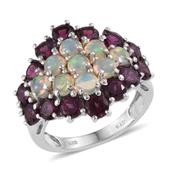 Ethiopian Welo Opal, Orissa Rhodolite Garnet Platinum Over Sterling Silver Ring (Size 9.0) TGW 6.700 cts.