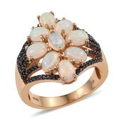 Ethiopian Welo Opal, Thai Black Spinel 14K YG Over Sterling Silver Openwork Ring (Size 6.0) TGW 3.000 cts.