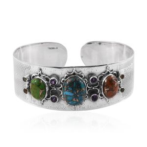 Jewel Studio by Shweta Mojave Multi Color Turquoise, Multi Gemstone Sterling Silver Cuff (7.50 in) TGW 26.48 Cts.