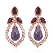 Royal Jaipur Rose De France Amethyst, Mozambique Garnet, Ruby 14K RG Over Sterling Silver Earrings TGW 16.80 Cts.