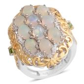 Ethiopian Welo Opal, Green Tourmaline 14K YG and Platinum Over Sterling Silver Ring (Size 5.0) TGW 3.050 cts.