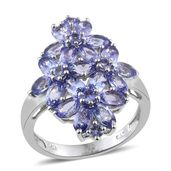 Tanzanite Platinum Over Sterling Silver Floral Cluster Ring (Size 10.0) TGW 5.560 cts.