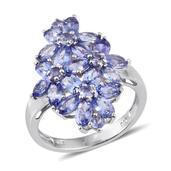 Tanzanite Platinum Over Sterling Silver Floral Cluster Ring (Size 5.0) TGW 5.56 cts.