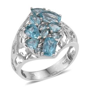 Madagascar Paraiba Apatite, White Topaz Platinum Over Sterling Silver Ring (Size 6.0) TGW 3.560 cts.