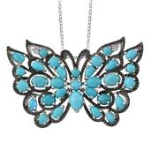 Creature Couture - Arizona Sleeping Beauty Turquoise, Tanzanite 14K YG and Platinum Over Sterling Silver Butterfly Pendant With Chain (20 in) TGW 7.63 cts.