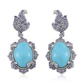 Arizona Sleeping Beauty Turquoise, Tanzanite, White Topaz Platinum Over Sterling Silver Dangle Earrings TGW 11.04 cts.