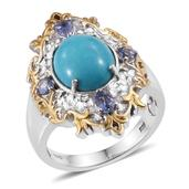 Arizona Sleeping Beauty Turquoise, Tanzanite 14K YG and Platinum OverSterling Silver Ring (Size 7.0) TGW 4.720 cts.