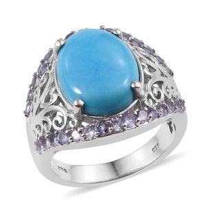 Arizona Sleeping Beauty Turquoise, Tanzanite Platinum Over Sterling Silver Ring (Size 8.0) TGW 8.750 cts.