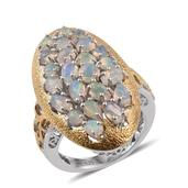 GP Ethiopian Welo Opal, Kanchanaburi Blue Sapphire 14K YG and Platinum Over Sterling Silver Ring (Size 7.0) TGW 2.790 cts.