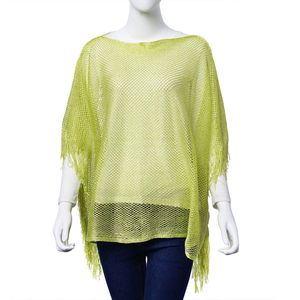 Lime Green 100% Polyester Poncho with Fringe