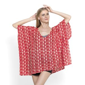 Red Floral Print 100% Cotton Kimono (37x29 in)