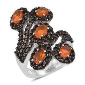 Jalisco Fire Opal, Brazilian Smoky Quartz Platinum Over Sterling Silver Bypass Elongated Ring (Size 6.0) TGW 3.300 cts.
