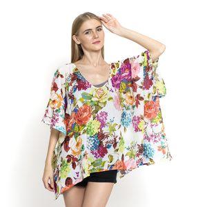 J Francis - White Floral Print 100% Cotton Kimono (37x29 in)