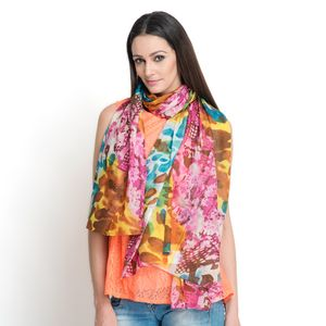 J Francis - Multi Color 100% Cotton Scarf (70x47 in)