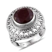 Ruby (Color Enhanced) Sterling Silver Ring (Size 9.0) TGW 8.660 cts.