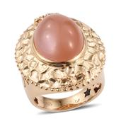 GP Peach Moonstone 14K YG Over Sterling Silver Ring (Size 10.0) TGW 10.730 cts.