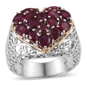 Niassa Ruby 14K YG and Platinum Over Sterling Silver Openwork Cluster Heart Ring (Size 7.0) TGW 5.590 cts.