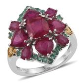 Niassa Ruby, Kagem Zambian Emerald 14K YG and Platinum Over Sterling Silver Ring (Size 8.0) TGW 9.06 cts.