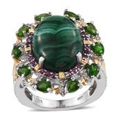 African Malachite, Multi Gemstone 14K YG and Platinum Over Sterling Silver Ring (Size 8.0) TGW 18.20 cts.