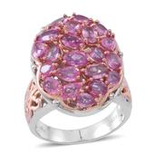 Madagascar Pink Sapphire 14K RG Over and Sterling Silver Oval Cluster Ring (Size 10.0) TGW 4.56 cts.