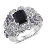 Kanchanaburi Blue Sapphire, Tanzanite, White Topaz Platinum Over Sterling Silver Statement Ring (Size 10.0) TGW 6.16 cts.