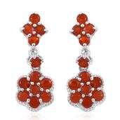 Jalisco Cherry Fire Opal Platinum Over Sterling Silver Earrings TGW 1.900 Cts.