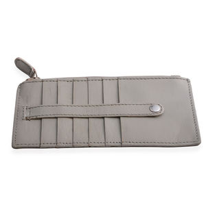 Gray 100% Genuine Leather RFID Card Holder with Zip Pouch (3.25x6.5 in)