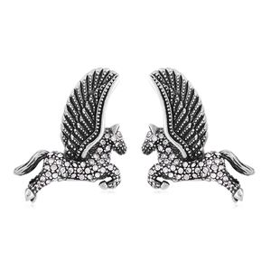 Austrian Crystal ION Plated Black Stainless Steel Latch Back Pegasus Earrings