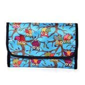 Blue with Multi Color Owl Pirnt 100% Polyester Storage Box (17.5x10 in)