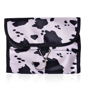 White and Black Splash Print 100% Polyester Foldable Storage Bag (15.5x8 in in)