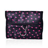 Black and Fuchsia Heart Print 100% Polyester Foldable Storage Bag (15.5x8 in)