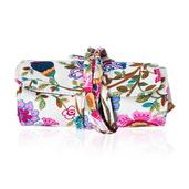 White Floral Print Foldable Cosmetic Tool Storage Bag (11x5 in)