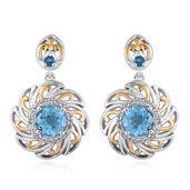 Swiss Blue Topaz, Malgache Neon Apatite, White Topaz 14K YG and Platinum Over Sterling Silver Dangle Earrings TGW 3.54 cts.