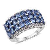 J Francis - Platinum Over Sterling Silver Ring Made with Blue and White SWAROVSKI ZIRCONIA (Size 7.0) TGW 7.800 cts.
