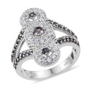 Bekily Color Change Garnet, White Zircon Platinum Over Sterling Silver Elongated Split Ring (Size 8.0) TGW 1.800 cts.