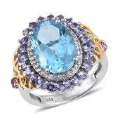 Swiss Blue Topaz, Tanzanite, Madagascar Pink Sapphire 14K YG and Platinum Over Sterling Silver Ring (Size 7.0) TGW 9.16 cts.