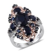 Kanchanaburi Blue Sapphire, White Topaz 14K RG and Platinum Over Sterling Silver Openwork Elongated Ring (Size 5.0) TGW 9.340 cts.