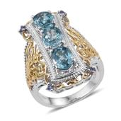 Cambodian Blue Zircon, Tanzanite 14K YG and Platinum Over Sterling Silver Openwork Elongated Ring (Size 7.0) TGW 5.250 cts.