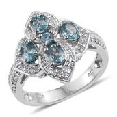 Cambodian Blue Zircon, White Topaz Platinum Over Sterling Silver Ring (Size 7.0) TGW 3.070 cts.