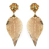 Nature's D'Or Kagem Zambian Emerald 14K YG Over Sterling Silver and Dipped in 24K YG Birch Leaf Earrings TGW 0.25 Cts.