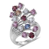 J Francis - Platinum Over Sterling Silver Ring Made with Multi Color SWAROVSKI ZIRCONIA (Size 8.0) TGW 6.900 cts.