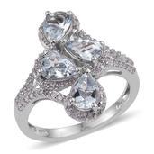 Espirito Santo Aquamarine, White Zircon Platinum Over Sterling Silver Bypass Ring (Size 6.0) TGW 2.960 cts.