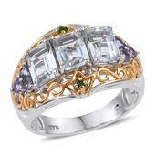 Espirito Santo Aquamarine, Tanzanite, Russian Diopside 14K YG and Platinum Over Sterling Silver Ring (Size 7.0) TGW 3.270 cts.